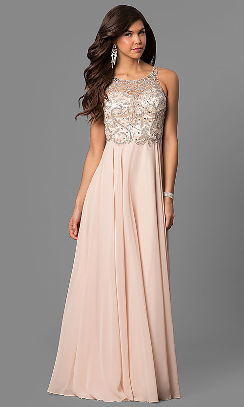 Image of open-back illusion long prom dress with beaded bodice. Style: DQ-9474 Front Image