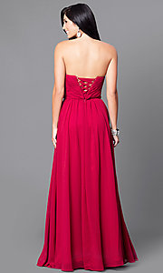 Image of strapless long ruched formal dress. Style: DQ-9488 Back Image