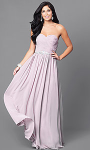 Image of strapless long ruched formal dress. Style: DQ-9488 Front Image