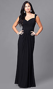 Image of long sweetheart ruched formal prom dress. Style: DQ-9498 Front Image