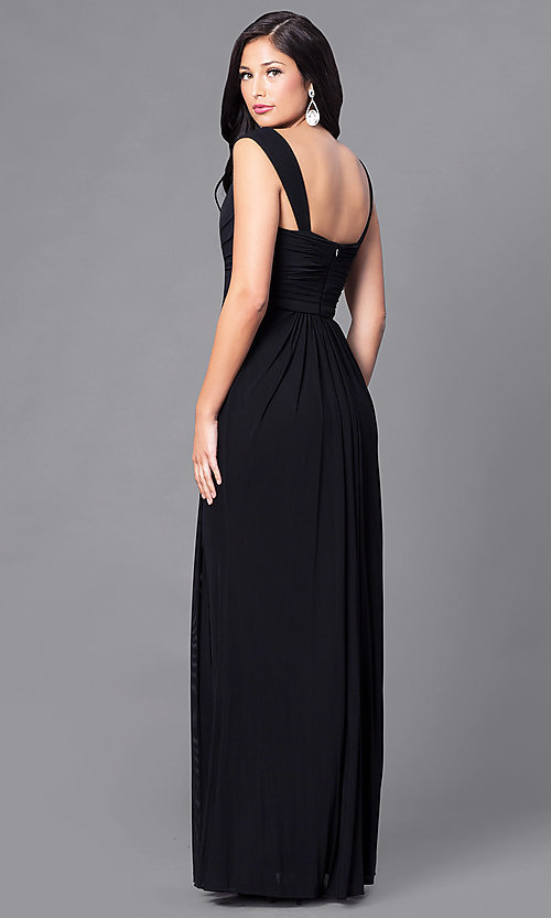 Image of long sweetheart ruched formal prom dress. Style: DQ-9498 Back Image