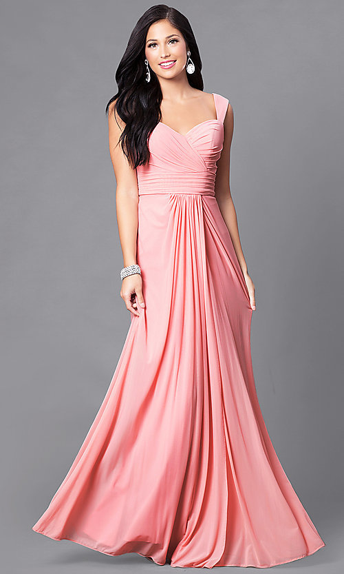 Image of long sweetheart ruched formal prom dress. Style: DQ-9498 Detail Image 1