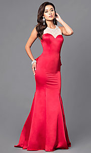 Image of mermaid prom dress with illusion sweetheart neckline. Style: DQ-9525 Detail Image 3