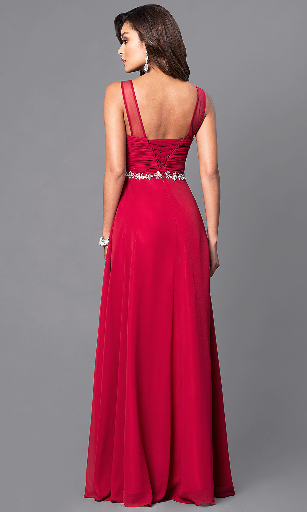 Corset Back Ruched Long Prom Dress Promgirl