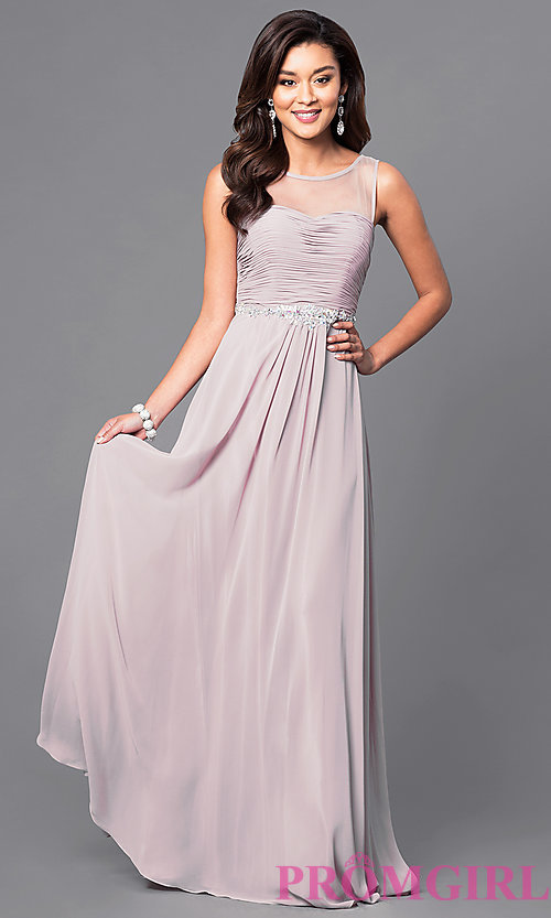 Image of ruched long prom dress with corset back. Style: DQ-9541 Detail Image 3