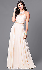 Image of long sweetheart prom dress with illusion-lace bodice. Style: DQ-9548 Detail Image 1