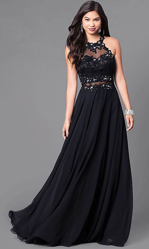 Image of long sweetheart prom dress with illusion-lace bodice. Style: DQ-9548 Front Image