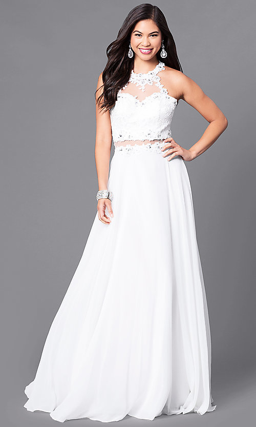 Image of long sweetheart prom dress with illusion-lace bodice. Style: DQ-9548 Detail Image 2
