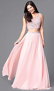 Two-Piece Embellished-Bodice Long Prom Dress