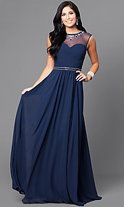 Jeweled Collar Illusion Sweetheart Long Prom Dress