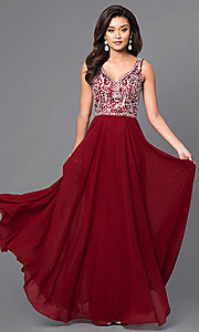 Image of chiffon long prom dress with v-neck beaded bodice. Style: DQ-9589 Front Image