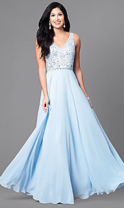 Image of chiffon long prom dress with v-neck beaded bodice. Style: DQ-9589 Detail Image 3