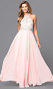Image of high-neck jewel-embellished bodice prom dress. Style: DQ-9591 Detail Image 3