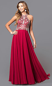 Image of high-neck jewel-embellished bodice prom dress. Style: DQ-9591 Front Image