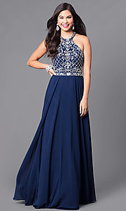 Image of high-neck jewel-embellished bodice prom dress. Style: DQ-9591 Detail Image 1