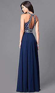 Image of high-neck jewel-embellished bodice prom dress. Style: DQ-9591 Back Image