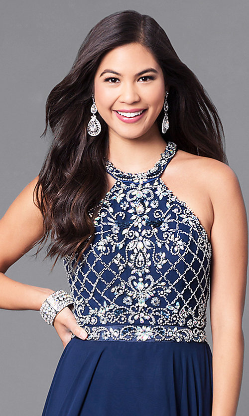 Image of high-neck jewel-embellished bodice prom dress. Style: DQ-9591 Detail Image 2