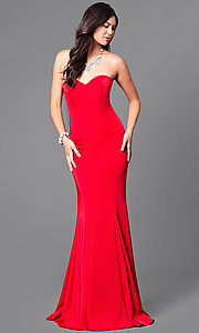 Image of long strapless prom dress with trumpet silhouette. Style: DQ-9607 Detail Image 1