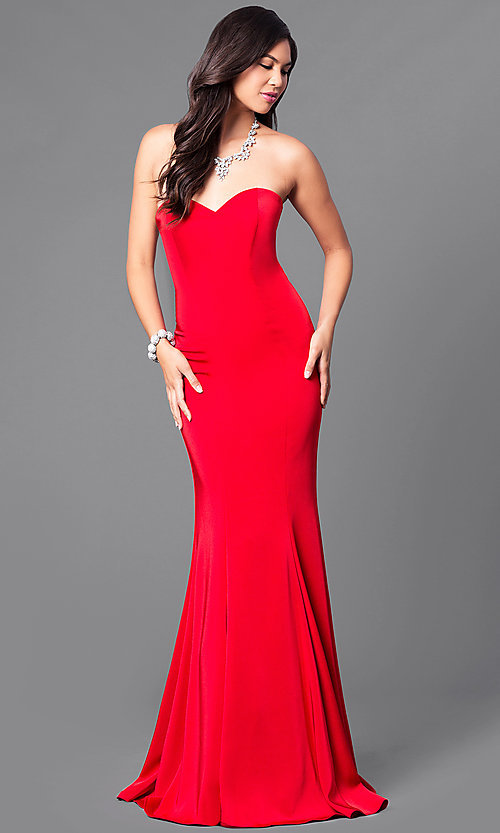 Strapless Long Satin Mermaid Prom Dress - PromGirl