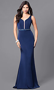 Floor Length V-Neck Embellished Waist Prom Dress