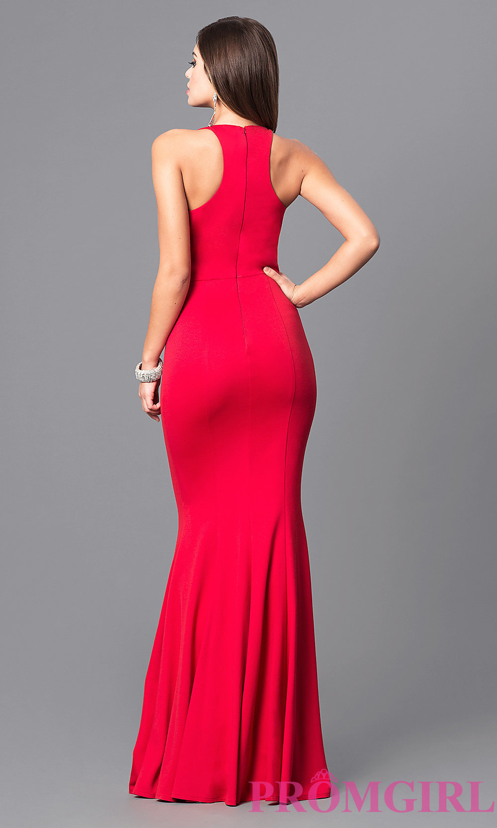 Racerback Jersey Prom Dress With High Neck Promgirl