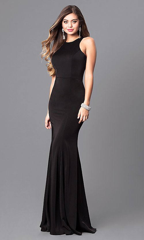 Image of sleek high-neck jersey long prom dress with racerback. Style: DQ-9635 Front Image