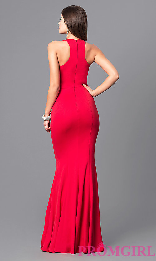 Image of sleek high-neck jersey long prom dress with racerback. Style: DQ-9635 Back Image