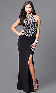 High Neck Illusion Beaded Bodice Prom Dress