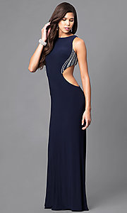 Image of long jersey prom dress with beading and side cut outs. Style: DJ-A4739 Front Image