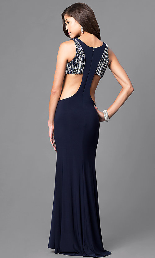 Image of long jersey prom dress with beading and side cut outs. Style: DJ-A4739 Back Image