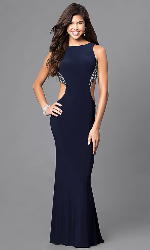 Image of long jersey prom dress with beading and side cut outs. Style: DJ-A4739 Detail Image 1