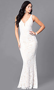 Ivory Lace Prom Dress with Low V-Neck