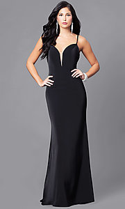Long Black Prom Dress with Illusion V-Neck