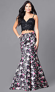 Image of two-piece prom dress with print trumpet skirt. Style: DJ-A4030 Detail Image 1