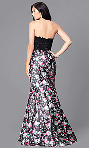 Image of two-piece prom dress with print trumpet skirt. Style: DJ-A4030 Back Image