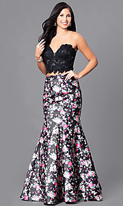 Two-Piece Prom Dress with Print Trumpet Skirt
