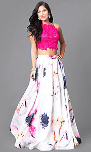 Image of two-piece prom dress with lace top and floral skirt. Style: DJ-2682 Front Image
