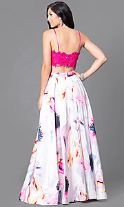 Image of two-piece prom dress with lace top and floral skirt. Style: DJ-2682 Back Image