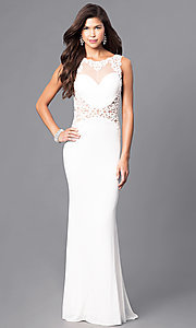 Long Lace Appliqued V-Back Prom Dress