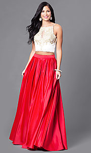 Two-Piece Floor-Length Prom Dress with Pockets