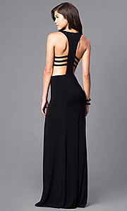 Image of black cut-out racerback long prom dress with slit. Style: DJ-5082 Back Image