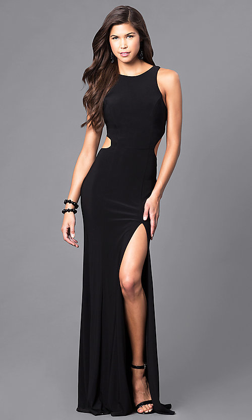 Image of black cut-out racerback long prom dress with slit. Style: DJ-5082 Front Image