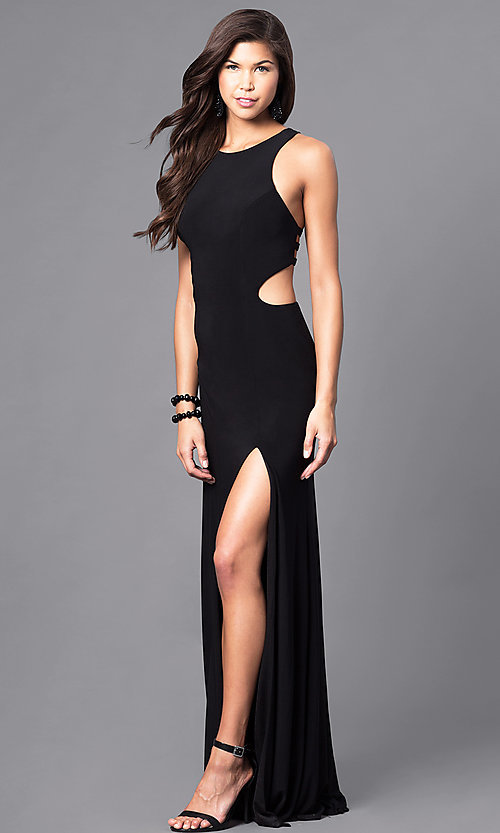 Image of black cut-out racerback long prom dress with slit. Style: DJ-5082 Detail Image 1