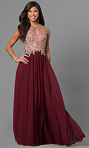 Image of long prom dress with lace-applique keyhole bodice. Style: DJ-5011 Front Image