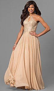 Image of black prom dress with lace-applique keyhole bodice. Style: DJ-5011 Detail Image 3