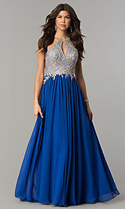 Image of black prom dress with lace-applique keyhole bodice. Style: DJ-5011 Detail Image 5