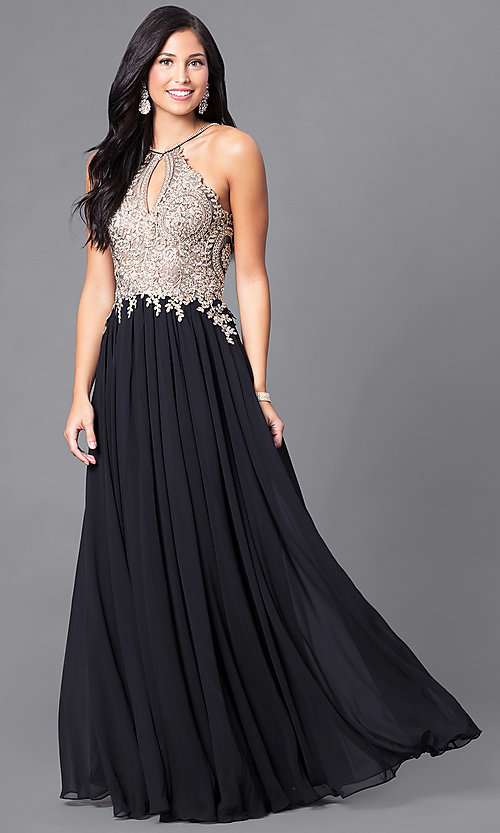Image of black prom dress with lace-applique keyhole bodice. Style: DJ-5011 Detail Image 2