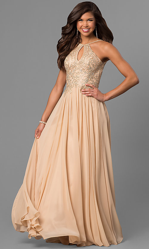 Image of long prom dress with lace-applique keyhole bodice. Style: DJ-5011 Detail Image 2