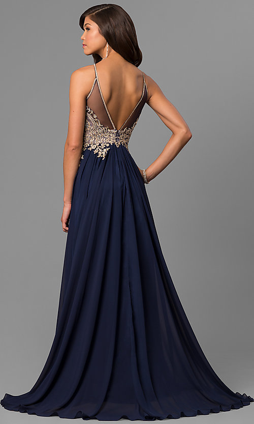 Image of black prom dress with lace-applique keyhole bodice. Style: DJ-5011 Back Image