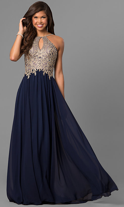 Image of black prom dress with lace-applique keyhole bodice. Style: DJ-5011 Detail Image 1